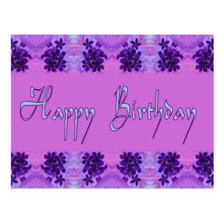 Happy Birthday purple flowers Postcard