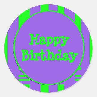 Happy Birthday purple green stripes Round Sticker