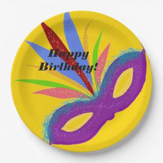 Happy Birthday Purple Masquerade Mask Paper Plate