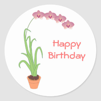 Happy Birthday Purple Orchid Stickers