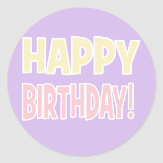 """""""HAPPY BIRTHDAY!"""" Purple/Pink/Yellow Pastel Round Sticker"""