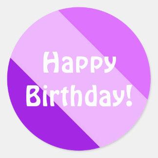 Happy Birthday - Purple Round Sticker