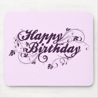 Happy Birthday Purple Swirls Mouse Pad