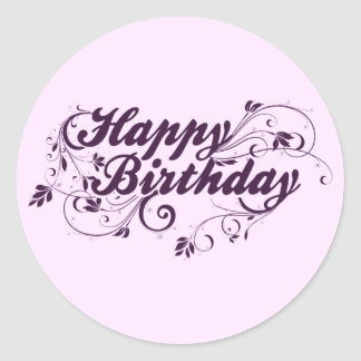 Happy Birthday Purple Swirls Round Sticker