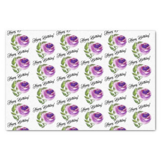 Happy Birthday | Purple Watercolor Rose and Leaves Tissue Paper