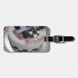 happy birthday racing car bag tag