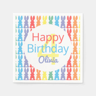 Happy Birthday Rainbow Bunny Personalized Kids Disposable Napkins