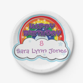 HAPPY BIRTHDAY RAINBOW | personalized plates 7 Inch Paper Plate