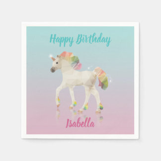 Happy Birthday Rainbow Unicorn Name - Paper Napkin