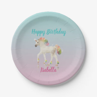Happy Birthday Rainbow Unicorn Name Paper Plate