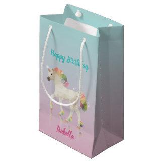 Happy Birthday Rainbow Unicorn Name Small Gift Bag