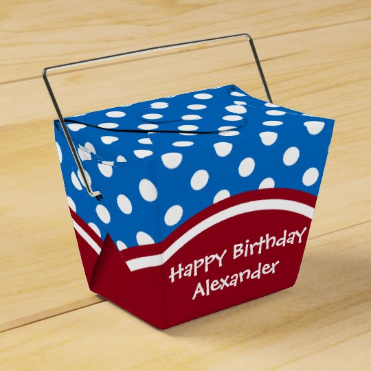 Happy Birthday Red and Blue Polka Dot Favor Box