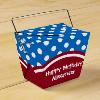 Happy Birthday Red and Blue Polka Dot Wedding Favor Boxes