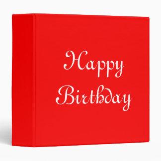 Happy Birthday. Red and White. Custom 3 Ring Binders