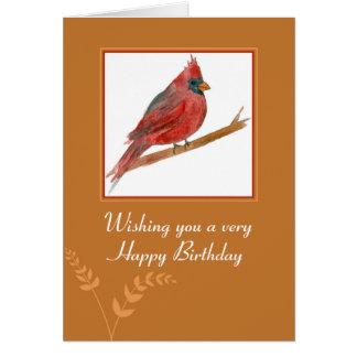 Happy Birthday Red Cardinal Bird Watercolor Card