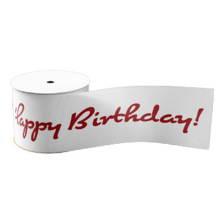 Happy Birthday! Red Casual Script Grosgrain Ribbon