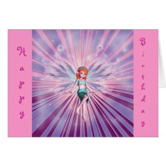 Happy birthday redhead fairy for little girls greeting card