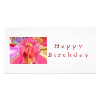Happy Birthday RedRose PinkRose Petal Art Customized Photo Card