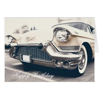 Happy Birthday Retro Vintage  Car Card