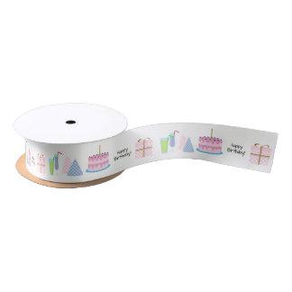 Happy Birthday Ribbon - in pink and blue, 1.5'' Satin Ribbon