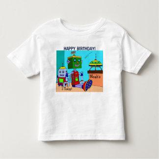 Happy Birthday Robots YOUR NAME & AGE T-Shirt Boys