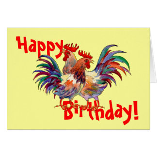 HAPPY BIRTHDAY ROOSTERS by SHARON SHARPE Card