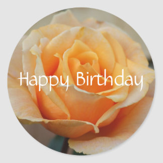 Happy Birthday, rose in peach Classic Round Sticker