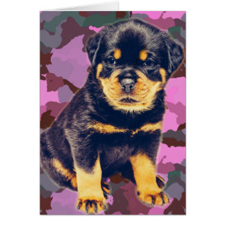 Happy Birthday Rottweiler on Pink Camo Card