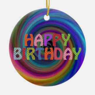 Happy Birthday Round Ceramic Ornament