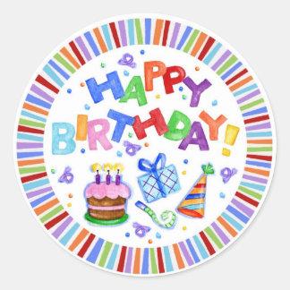 Happy BIrthday Round Gift Sticker