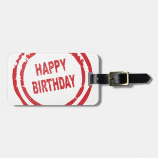 Happy Birthday Rubber Stamp Bag Tag