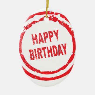 Happy Birthday Rubber Stamp Ceramic Oval Ornament
