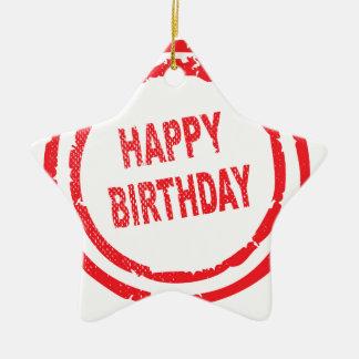 Happy Birthday Rubber Stamp Ceramic Star Ornament