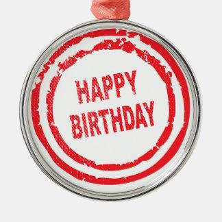 Happy Birthday Rubber Stamp Silver-Colored Round Ornament