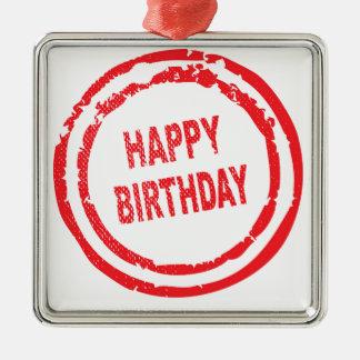 Happy Birthday Rubber Stamp Silver-Colored Square Ornament