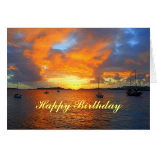 Happy Birthday Sailboats at Golden Sunset Card