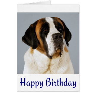 Happy Birthday Saint Bernard Puppy Dog Card