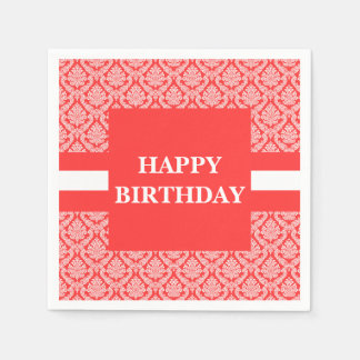 Happy Birthday Salmon Peach and White Damask Paper Napkin
