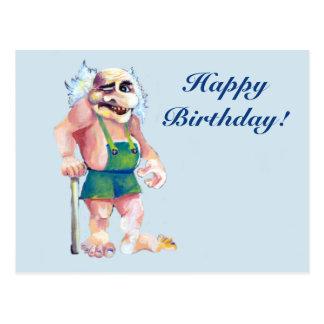 Happy Birthday Scandinavian troll Postcard