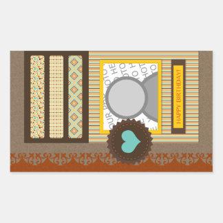 happy birthday (scrapbook) rectangular sticker