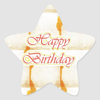 HAPPY Birthday Script : SAFFRON Pure Crystal Star Sticker