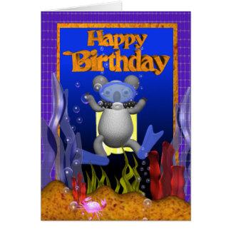 Happy Birthday Scuba Diver Koala by Valxart Card