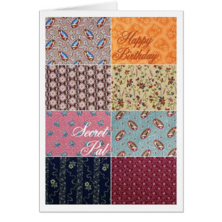 Happy Birthday Secret Pal Crazy Quilt Greeting Card