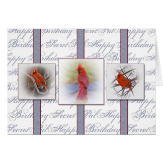 Happy Birthday Secret Pal - Red Cardinals Greeting Card