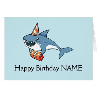 Happy Birthday Shark Card Personalized Template
