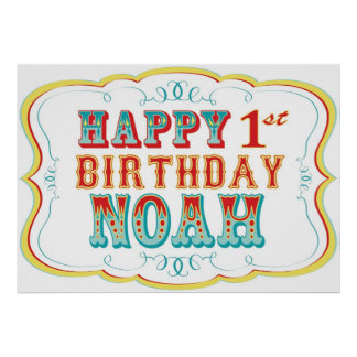 Happy Birthday Sign Carnival or Circus Party Noah