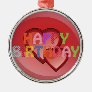 Happy Birthday Silver-Colored Round Ornament