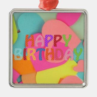 Happy Birthday Silver-Colored Square Ornament