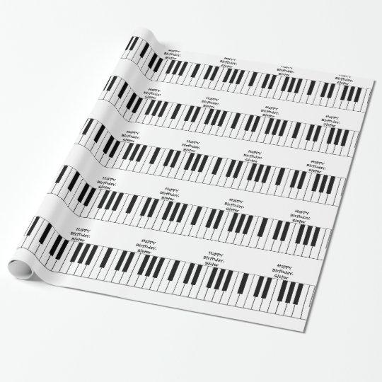 Happy Birthday, Sister, piano keys, gift wrap.