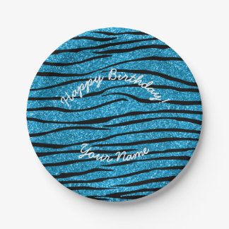 Happy Birthday sky blue glitter zebra stripes Paper Plate